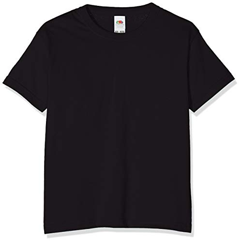 Fruit of the Loom Value T, Camiseta Niño, Negro (Schwarz - Schwarz), 12-13 años