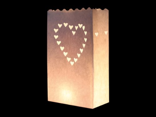 COOLMP Lot de 12 - Lanterne de Jardin Coeur Blanc