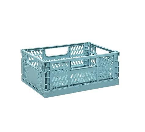 Efforts Caja Plastico Plegable Almacenaje, Robusta Caja Plegable Apilable Para Almacenamiento Para Cocina, Baño Y Armario (M - Azul)