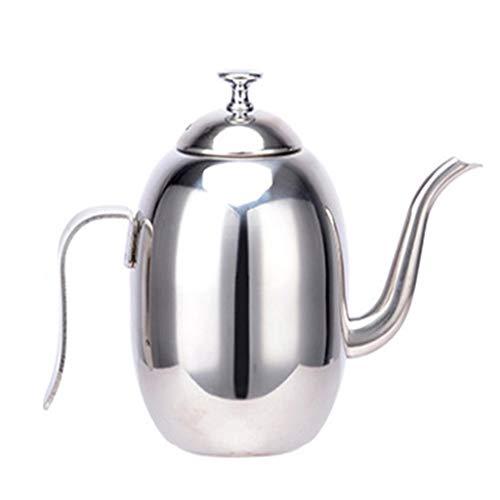 European 304 - Cafetera de acero inoxidable pulido con boquilla a prueba de fugas y cubierta contra el polvo, 4/5 tazas, para oficina, 400/500 ml, color plateado