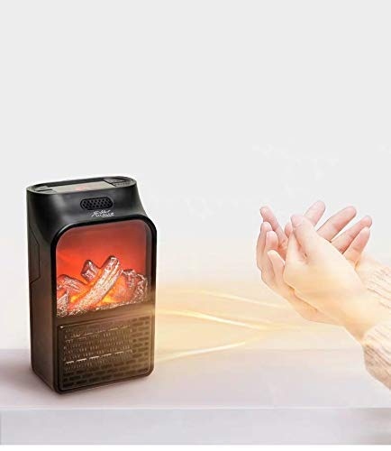 DHAVJ Electric Flame Heater Fan Air Warmer Fireplace Flame Heater for Office Bed Room Black (1 pcs)