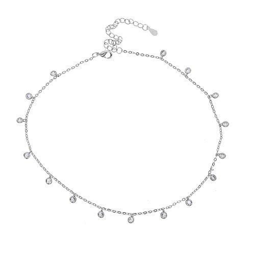 Mode Lünette runde quadratischegepflasterte Charm Anhänger Chorker Halskette mit Weißgold Farbe kurze Halskette für Hochzeit Halskette