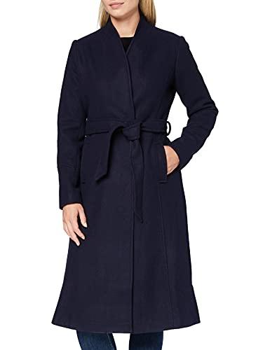 Marchio Amazon - find. Cappotto Lungo con Cintura Donna, Blu (Blue), 40, Label: XS