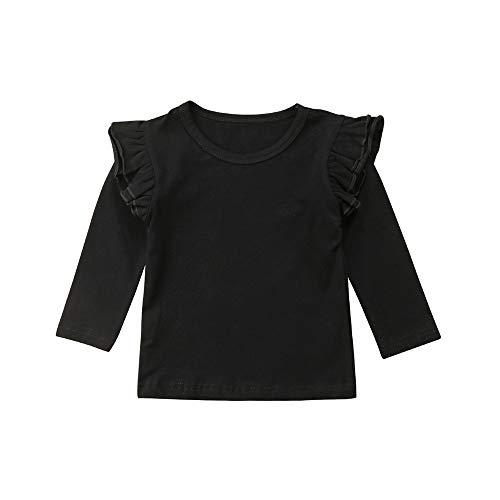 TiendaDeLage Blusa de Lino sólido para bebé o niña, con Mangas y Linterna, para Ropa de otoño, Blusas con Volantes Negros, 4-5T