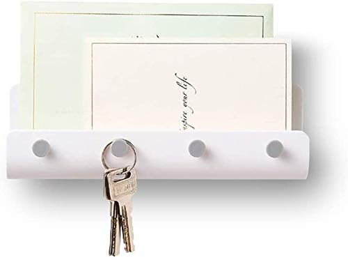 Key Holder for Wall Entryway Mail Holder for Wall Adhesive Key Rack for Wall with 4 Key Hook Wall Key Holder Key Hanger for Wall Mail Organizer Wall Mount for Entryway, Mudroom, Hallway