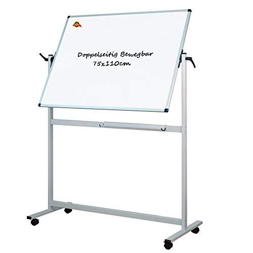 Lockways Mobile/Doppelseitige Whiteboard mit Aluminiumrahmen, magnetisch - 110 x 75 cm für Büro, Schule und Wohnung