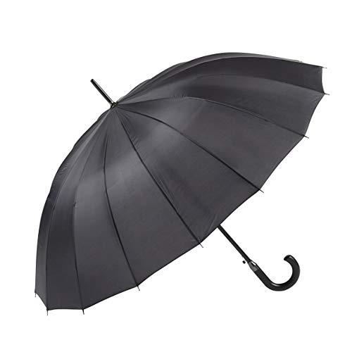 GOTTA Paraguas Largo y Grande de Hombre y Mujer, 16 Varillas. Antiviento, automático y con puño Curvo de plástico. Tejido Liso - Negro