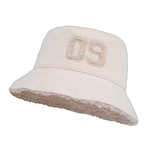 HT LT Moda Cordero Terciopelo Olla Sombrero Femenino otoño Invierno Lindo 09 Digital Olla Sombrero Sombrero cálido Grueso,Beige