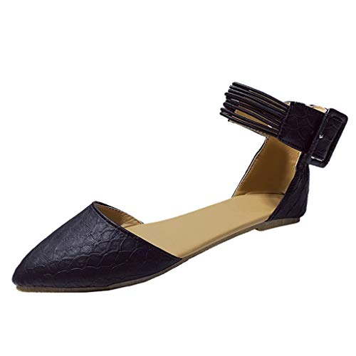 Sandalias de Primavera y Verano Sandalias con Hebillas para Mujer,Zapatos Planos de Mujer con Fondo Suave Transpirable Sandalias Casuales de Color Liso Zapatos de Vestir Vintage Negro Blanco 35-43EU