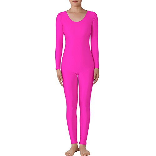 Muka - Body de manga larga con cuello redondo, licra y zentai, Mujer, color rosa, tamaño M