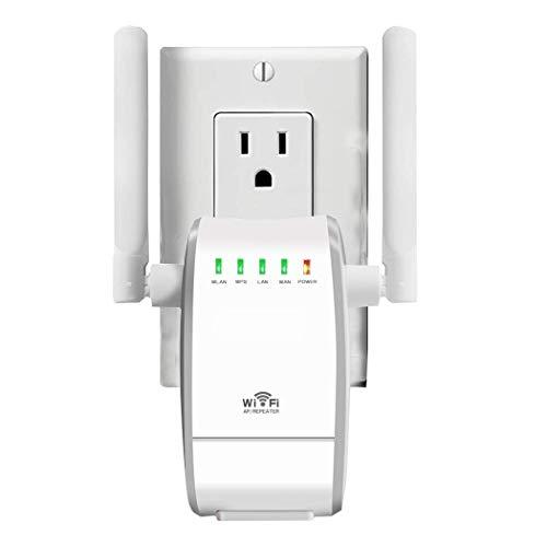 YUNJIN Amplificador de WiFi 300Mbps Repetidor WiFi Extensor Enrutador Inalámbrico Punto Acceso (Tres Modos, 2,4G, Dos Antenas, Puerto LAN/WAN, WPS, EU Enchufe, Versión Actualizada)