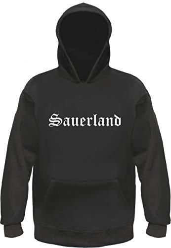 Sauerland Kapuzensweatshirt - Altdeutsch - Bedruckt - Hoodie Kapuzenpullover M Schwarz