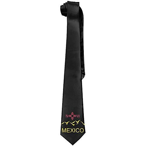 New Mexico Flag Mountain Corbatas de seda clásicas negras para hombre Corbatas personalizadas de regalo