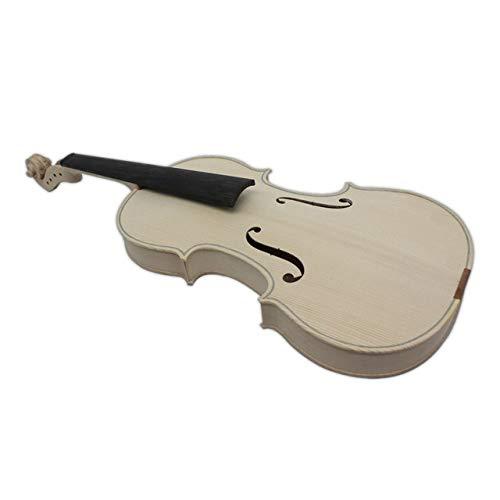 ABMBERTK Violino Bianco Non finito 10 Selettivo 10 Anni di Acero essiccato Naturale Indietro Abete Top Violino Fatto a Mano , Full Size, Solo Violino