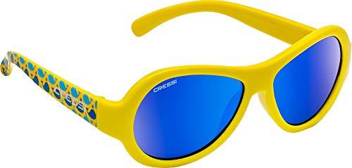 Cressi Scooby Kid's Sunglasses, Occhiali da Sole Unisex Bambino, Giallo/Balena/Lenti Specchiate Blu, 0-2 Anni