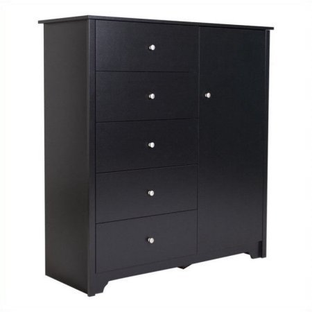 Storage Chest Cabinet with 5 Drawers, Adjustable Shelves, 2 Hooks Behind the Door for Hanging Items, Transitional Style, Space Saver, Bedroom, Family Room, Home Furniture, Black Color