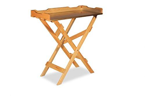 GartenDepot24 Table d'appoint en bois et zinc naturel 78 x 39 x 82 cm