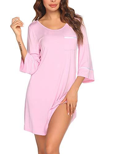 Ekouaer Loungewear Nightgown Women's Ultra-Soft Nightshirt Knee Length Sleepwear with Pocket Misty Rose