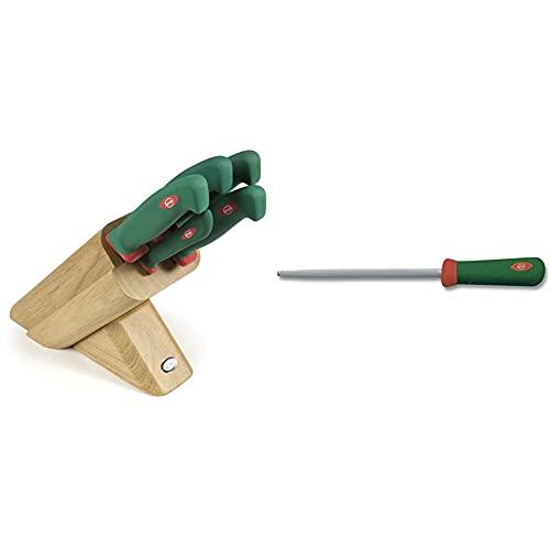 Sanelli 931605 Ceppo Coltelli Leck, Legno, Verde/Rosso, 5 unità & Premana Professional Acciaino, Acciaio Inossidabile, Verde/Rosso, 22 cm