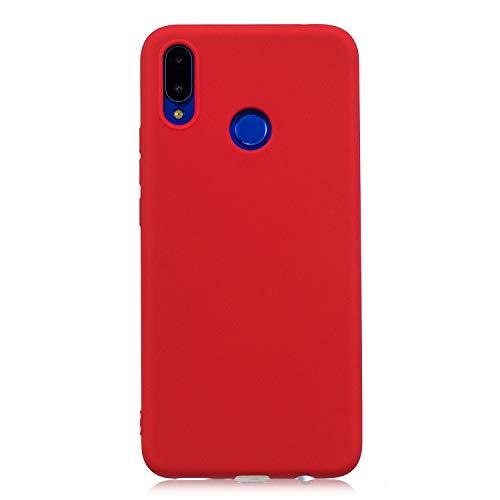 cuzz Custodia Huawei Nova 3i / P Smart Plus+{Film di Vetro temperato}Silicone TPU Cover Morbida Protettiva Custodia Ultra Sottile Leggero Cover-Rosso
