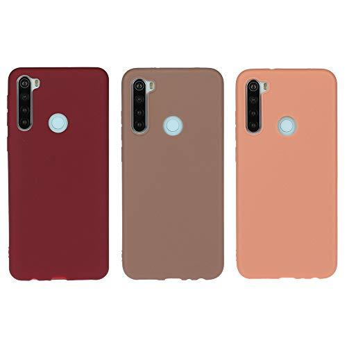 Everainy Funda Compatible para Xiaomi Redmi Note 8T Silicona Parachoque Color sólido Carcasa Cover Bumper Ultrafina Suave Goma Delgado Case Caucho Antigolpes (Rojo 1/marrón/Naranja)