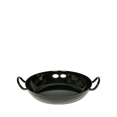 Riess, 0595-022, Schlemmerpfanne 16, CLASSIC - SCHWARZEMAILLE, Durchmesser 16 cm, Höhe 4,8 cm, Emaille, schwarz, Servierpfanne, Gourmetpfanne