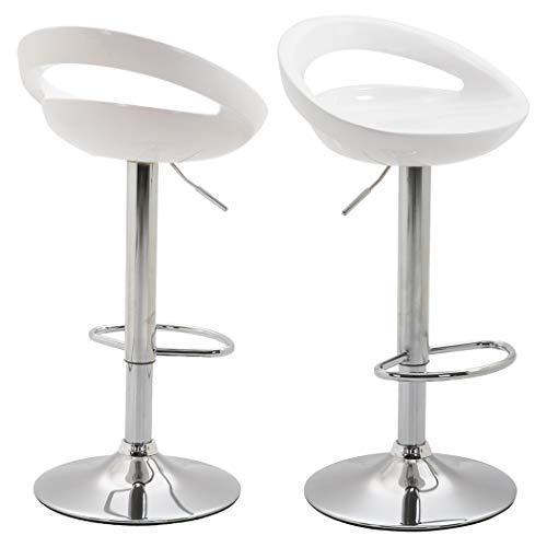 Duhome 2X Sgabelli da Bar in plastica Bianco Regolabile in Altezza con Schienale Girevole Design Elegante Selezione Colore 147