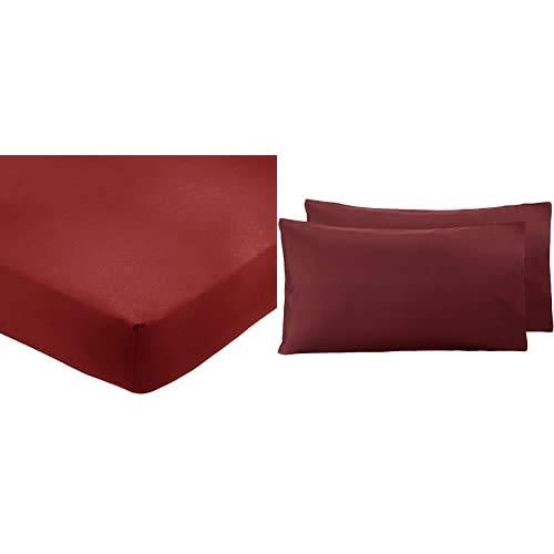 Amazon Basics AB 200Tc Poly Cotton, Combinación De Algodón, Burdeos, 180 X 200 X 30 Cm + - Funda De Almohada De Microfibra, 2 Unidades, 50 X 80 Cm - Burdeos