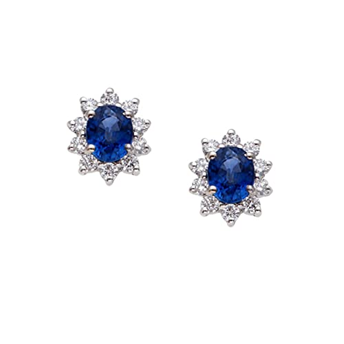 Pendientes para mujer de oro blanco de 18 quilates con zafiro azul y diamantes - Pendientes Kate Middleton de margarita con zafiro ovalado y 10 diamantes - Idea regalo joyas mujer Simmi Gioielli