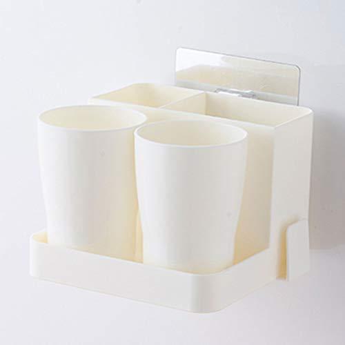 Porte-brosse à dents Montage mural sans poinçon pour salle de bains Salle de bains avec boîte de rangement pour tasse à brosse (Couleur : Blanc)