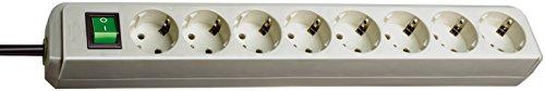 Brennenstuhl Eco-Line, Steckdosenleiste 8-fach (Steckerleiste mit erhöhtem Berührungsschutz, Schalter und 3m Kabel) lichtgrau