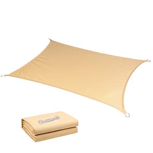 JHKGY 95% de bloqueo UV resistente a los rayos UV y al agua, color beige, cuadrado, impermeable, con bloqueo de agua, toldo de bloqueo solar, toldo para exteriores, patio, playa, 3 x 3 m
