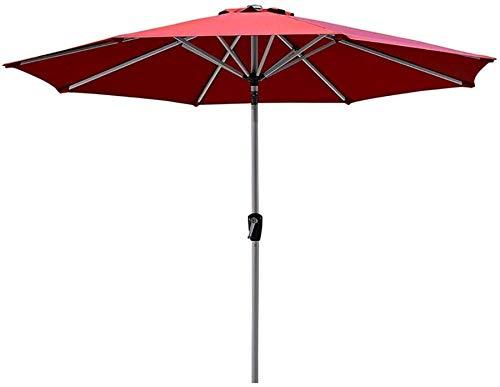 Jardín Sombrillas redondo rojo Sombrilla for el patio, Mercado 8.9ft / 2.7m Tabla Paraguas con botón de inclinación y manivela, perfecto for al aire libre, camping, silla (Color: Sin base) (Color: Con