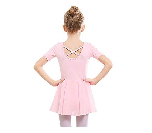 SKYSOAR Kinder Ballettkleidung Mädchen Ballettkleid Balletttrikot Tanztrikot V-Ausschnitt Kurzarm Kostüm Trikot Baumwolle Tanzkleid mit Chiffon Rock Tütü