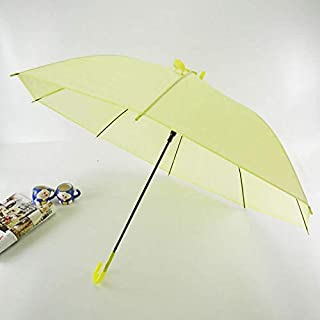 CHENTAOCS Semi-Automatic Transparent Umbrellas for Protect Against Wind and Rain Long-Handle Umbrella Clear Field of Vision (Color : Yellow)