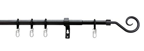Tilldekor ausziehbare Gardinenstange ROMA II, schwarz, Ø 13/16 mm, 1-Lauf, 70 - 120 cm, inkl. Trägern und Ringen