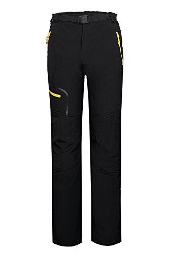 emansmoer Homme Pantalon Softshell Doublé Polaire Coupe-Vent Imperméable Outdoor Sport Camping Randonnée Trekking Pants (Medium, Noir-Jaune)