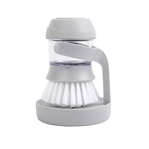 キチンブラシ 食器洗いスポンジ 押し式洗剤入れクリーニングブラシ 吊り穴付き収納便利 半自動噴液 手を傷つけない 台所/洗面台/壁/排水口清潔に適用