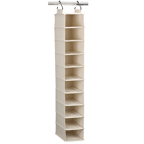 Household Essentials 3328-1 Cotton Canvas Hanging Closet Shoe Organizer | 10-Shelf | Natural
