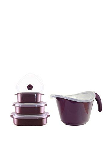 Reston Lloyd Plum 8-Piece Microwave Safe Batter Bowl & Storage Set