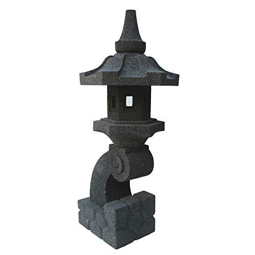 STONE art & more Farol japonés de piedra pagoda Rankei, templo de 70 cm de altura, piedra volcánica, resistente a las heladas