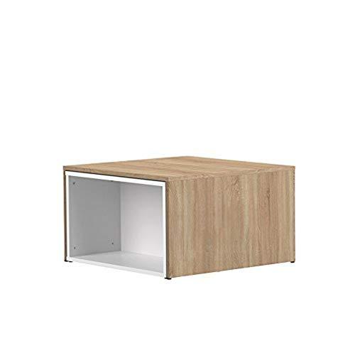 Table Basse Contemporain Modulable Blanc/Chêne Naturel 120 x 67 x 38,1 cm, 2066A0300X00