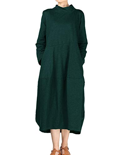 Mordenmiss Women's Autumn Turtleneck Long Baggy Dress with Pockets S Green