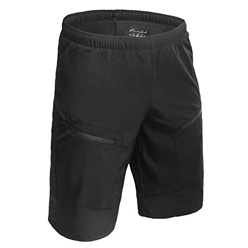 Przewalski Men's 3D Padded Mountain Bike Shorts, Baggy MTB Cycling Shorts, Abrasion Resistance and Breathable, Black, L