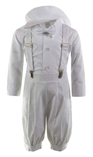 Tuxgear Boys Linen Vintage Knicker Outfit with Suspenders and Hat, White, Baby 3-6 Months