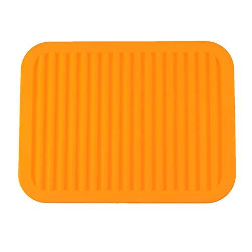 Alfombrilla de drenaje de silicona antideslizante resistente al calor para secar platos, accesorios de cocina para el hogar 1 unidad naranja