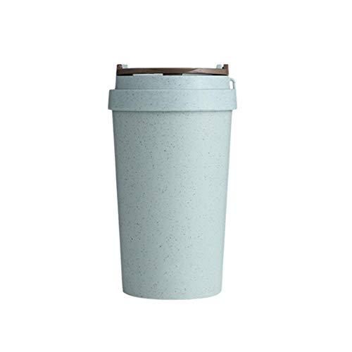 Mug Tasses A Café,400Ml Blue La Paille De Blé sans Fuites Double Paroi Isolés De Préservation De Chaleur Tasse Réutilisable pour Le Thé, Le Café Ou Le Lait, pour Les Boissons Chaudes Et Froid