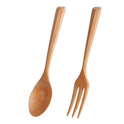 UKtrade Cubiertos reutilizables de madera portátiles de la cuchara de la tenedora, sistema de vajilla natural del color sólido
