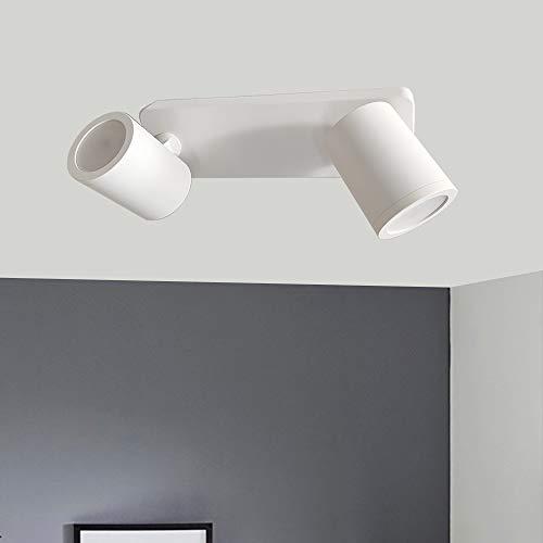 FactorLED Lámpara Techo Led Blanco Ajustable y Rotatorio GU10, Aplique con dos Bombillas 6W Luz Cálida 3000K, Barra Focos Orientable, Iluminación Interior (White, 2 Focos)