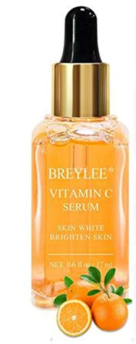 BREYLEE Vitamin C Serum Anti-Aging Whitening VC Essence Oil Topical Facial Serum with Hyaluronic Acid Vitamin E Cosmetic (17ml)